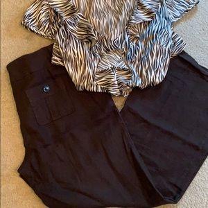 Ann Taylor brown linen pants with silk shirt